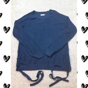 Soft Adorable Sweater with Laced up Sides EUC XL